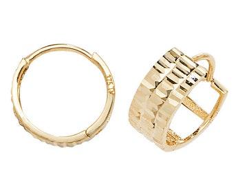 9ct Yellow Gold 10mm Diamond Cut Watch Strap Design Hoop Earrings