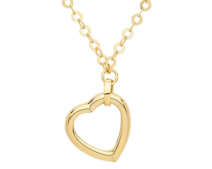 "9ct Yellow Gold Suspended Open Heart Pendant on Adjustable 17""-18"" Necklace"