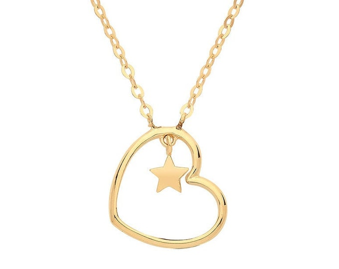 "9ct Yellow Gold Heart & Suspended Star Pendant on Adjustable 16""-18"" Necklace"