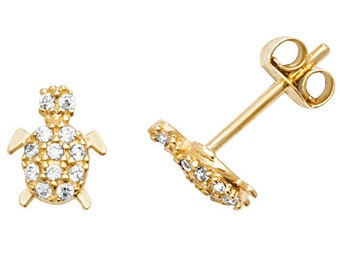 9ct Yellow Gold 7mm Baby Turtle Cz Stud Earrings
