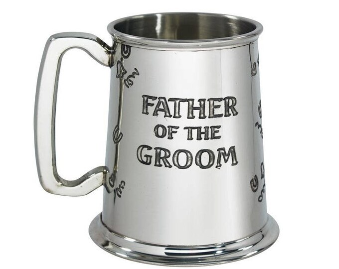 Personalised Father Of The Groom 1 Pint Pewter Tankard Engraved Customised Message