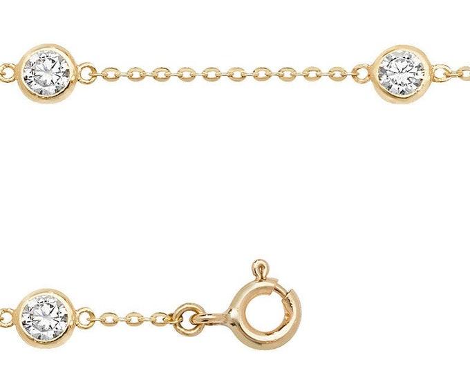 "Ladies 9ct Yellow Gold 6 Rubover Cz 7.25"" Fine Lightweight Chain Bracelet"