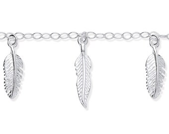 "Ladies 5 Feathers 925 Sterling Silver 7"" Charm Bracelet"