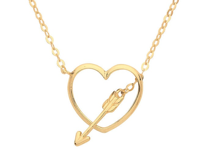 "9ct Yellow Gold Heart & Cupids Arrow Pendant on Adjustable 16""-18"" Necklace"