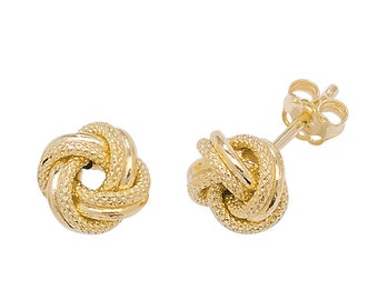 9ct Yellow Gold 8mm Twisted Honeycomb Rope Design Knot Stud Earrings - Real 9K Gold