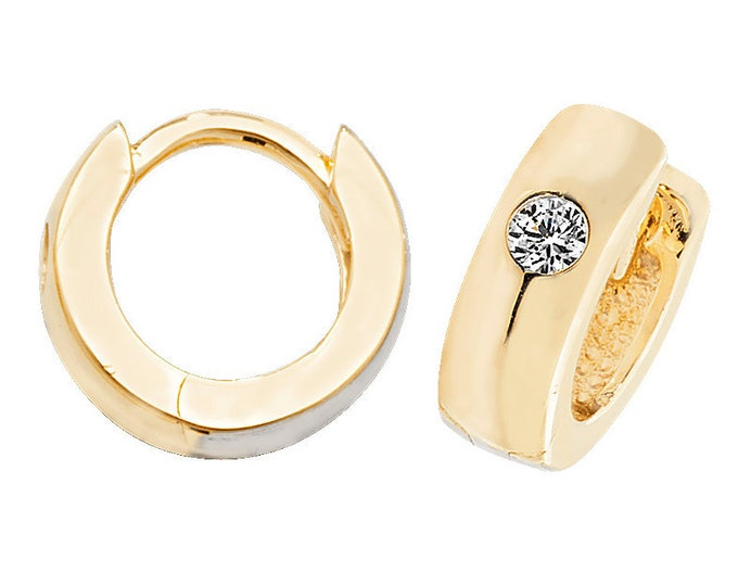 9ct Yellow Gold Solitaire Cz 10mm Plain D Shaped Hinged Hoop Earrings Hallmarked