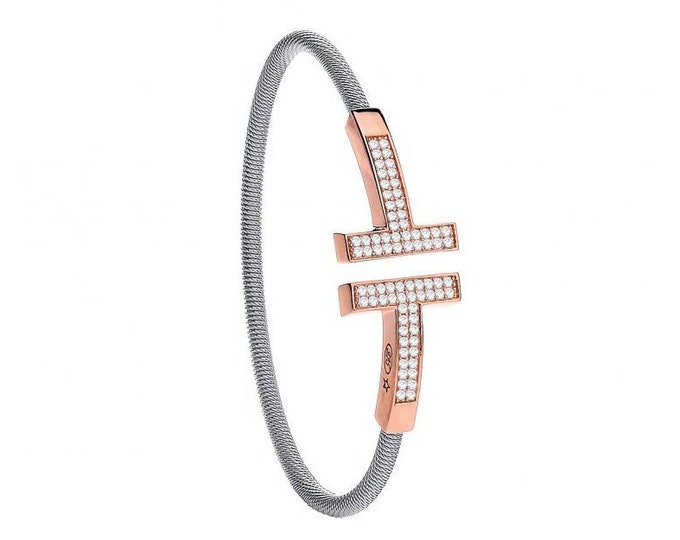 Sterling Silver Ladies Wire Rose Coated T-Bangle Set With Pave Cz Stones