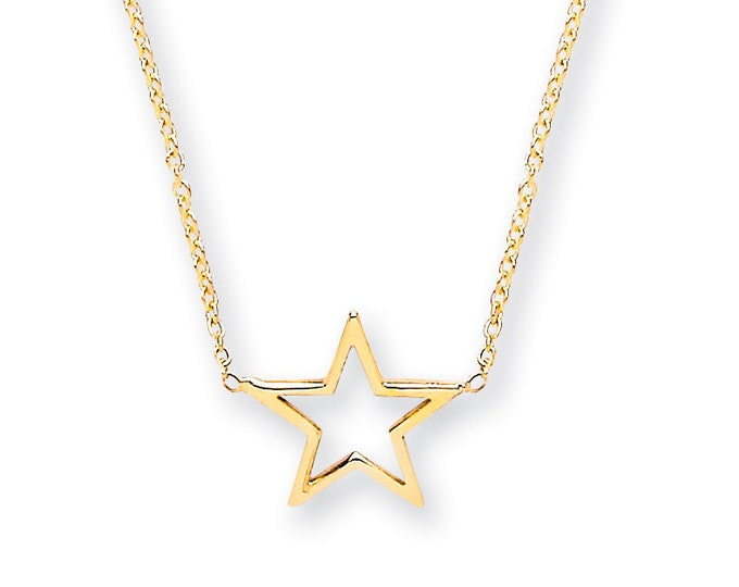 "9ct Yellow Gold Small Cut Out Star Pendant on Adjustable 16""-18"" Rolo Chain Necklace"