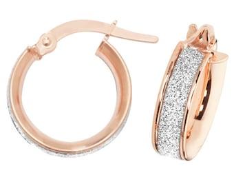 9ct Rose Gold Stardust Hoop Earrings 10mm 15mm 20mm 25mm 30mm 40mm 50mm