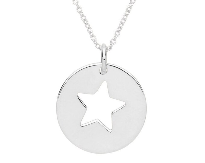 "Cut Out Star Round 15mm Disc Charm Pendant on 16""-18"" Necklace Rhodium Plated Silver"