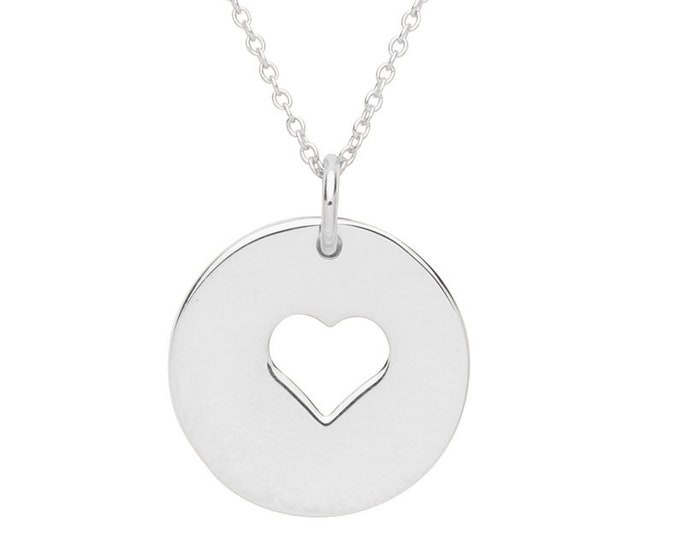 "Cut Out Heart Round 15mm Disc Charm Pendant on 16""-18"" Necklace Rhodium Plated Silver"