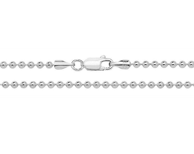 925 Sterling Silver 1.5mm Round Ball Bead Chain Necklaces