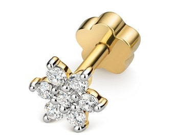 9ct Yellow Gold 0.10ct Diamond Flower Cluster Cartilage 6mm Bar Single Stud Screw Back Earring - Real 9K Gold