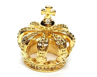 Gold Plated 3D Royal Crown Lapel Pin Badge Gift Boxed