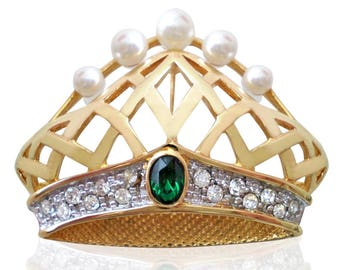 Vintage Emerald & Pearl Crown Brooch Set With Swarovski Crystals