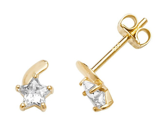 Small 9ct Yellow Gold 6x5mm Cz Shooting Star Stud Earrings