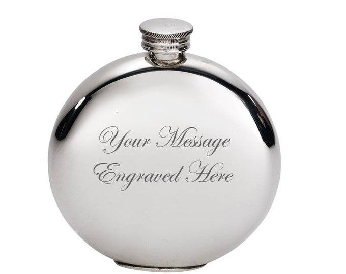 Personalised Pewter Hip Flask Customised Present Engraved Message Gifts For Her, Gifts For Him
