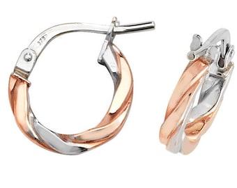 Modern 9ct Bi Colour Rose & White Gold Flat Twisted Hoop Earrings - Real 9K Gold