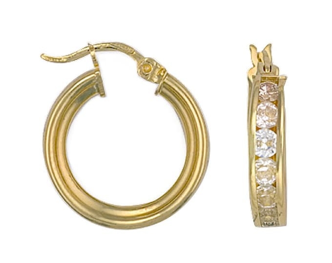 9ct Yellow Gold 15mm Channel Set Cubic Zirconia Hoop Earrings Hallmarked 3.4g
