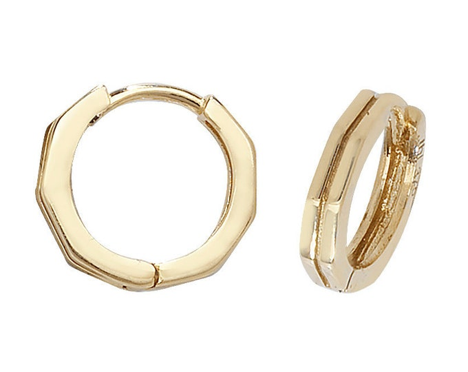 9ct Yellow Gold 8mm Plain Octagonal Centre Groove Hinged Hoop Earrings