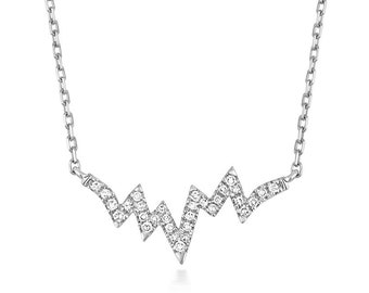 """9ct White Gold 0.06ct Diamond Heartbeat 18"""" Necklace Hallmarked - Real 9K Gold"""