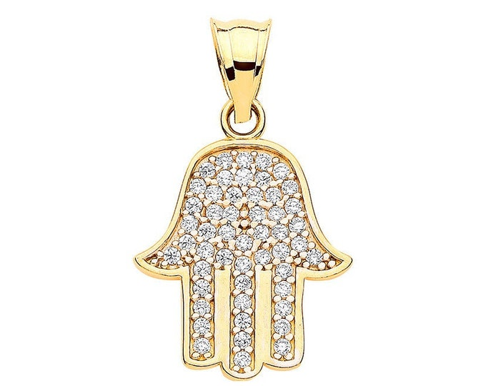 9ct Yellow Gold 2.1cm Micro Pave Set Cubic Zirconia Hamsa Charm Pendant - Real 9K Gold
