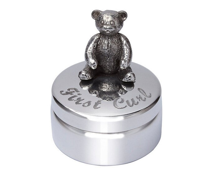 Personalised Baby First Curl Teddy Pewter Trinket Box Customised Engraved Message