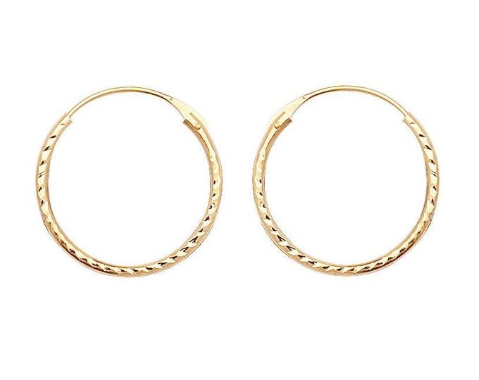 9ct Yellow Gold 10mm Diameter Diamond Cut Hinged Threader Sleeper Hoop Earrings - Real 9K Gold