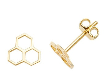 Small 9ct Yellow Gold 6x6mm Cut Out Honeycomb Design Stud Earrings - Real 9K Gold