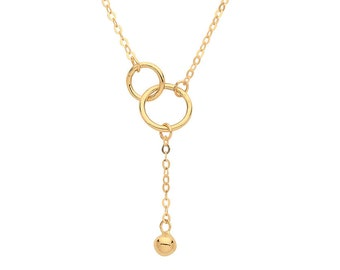 "9ct Yellow Gold Interlocked Circles & Ball Tassel Pendant on Adjustable 16""-18"" Necklace"