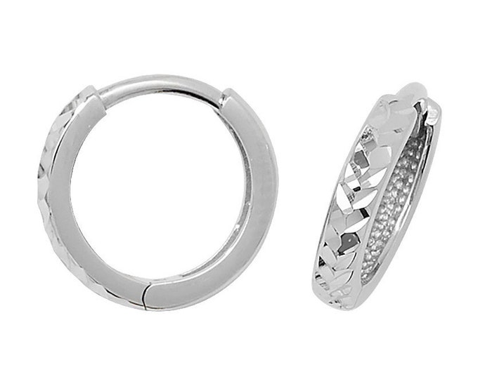 9ct White Gold 8mm Diamond Cut Hinged Hoop Earrings