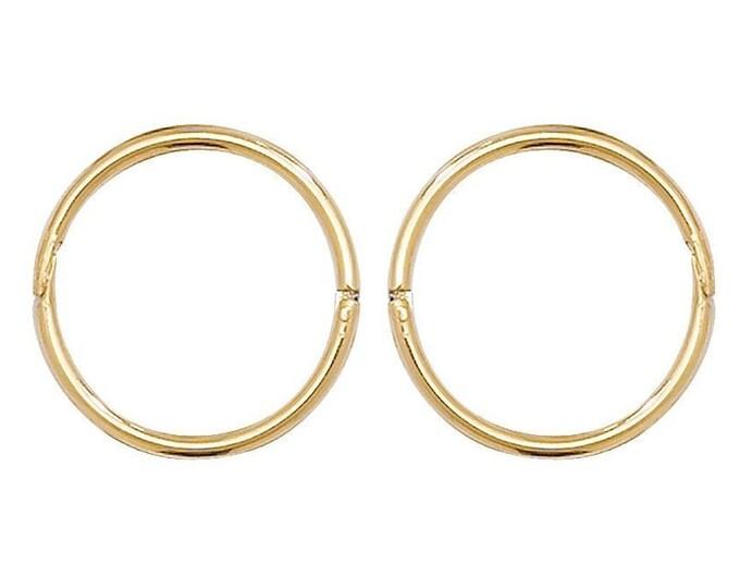 Pair of 9ct Yellow Gold 14mm Diameter Hinged Sleeper Hoop Earrings