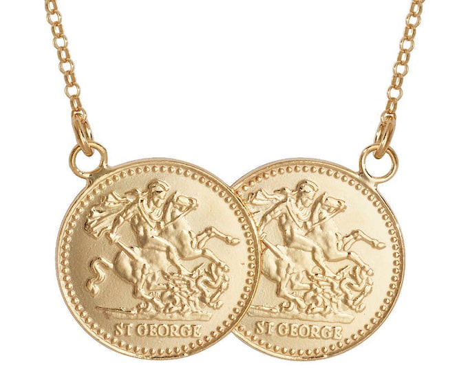 "Gold on Sterling Silver St George Double Half Sovereign Coin 17"" Necklace"