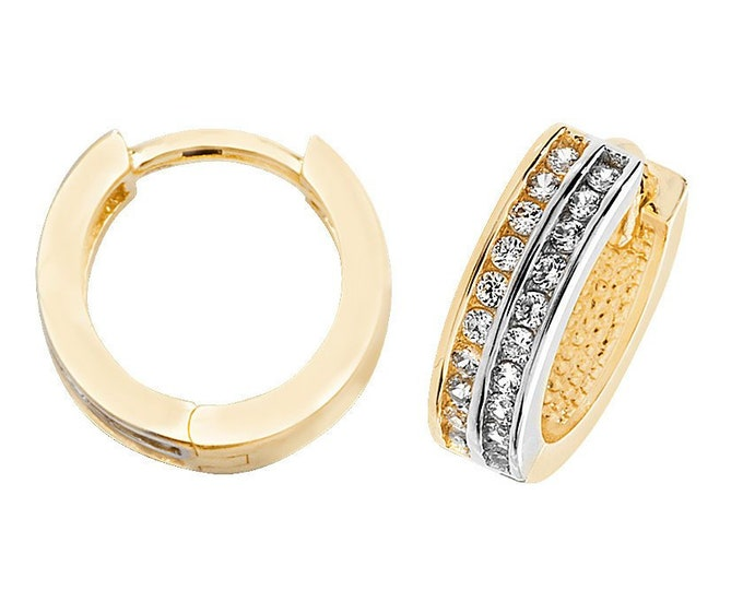9ct Two Colour Gold 10mm Channel Set Cz Hinged Hoop Earrings Hallmarked