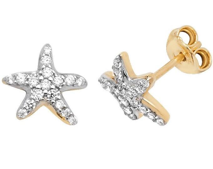 9ct Yellow Gold 8mm Pave Set Cz Starfish Stud Earrings Hallmarked