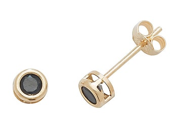 Black Sapphire Stud Earrings - 9ct Yellow Gold 3mm Real Sapphire Stud Earrings