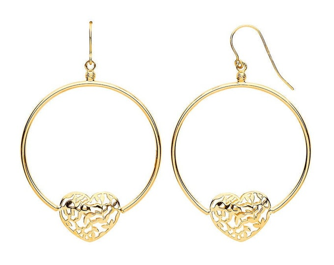 9ct Yellow Gold 3.3cm Diameter Filigree Heart Circle Hook Earrings