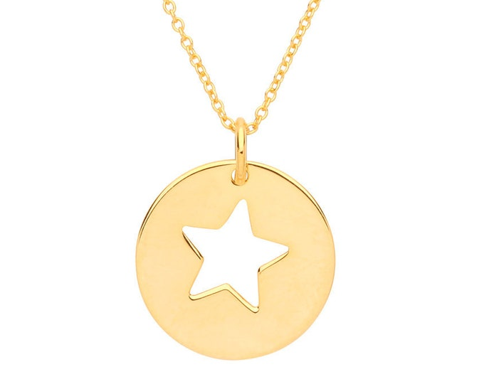 "Cut Out Star Round 15mm Disc Charm Pendant on 16""-18"" Necklace Yellow Gold Plated Silver"