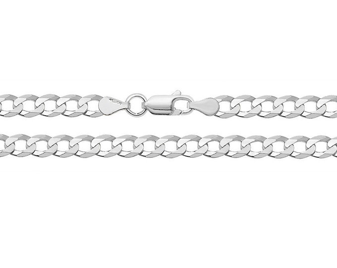 Open Curb Link Chain Necklace 925 Sterling Silver 4mm Wide Link