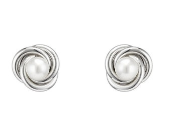 Rhodium Plated 925 Sterling Silver 10mm Freshwater Pearl Knot Stud Earrings
