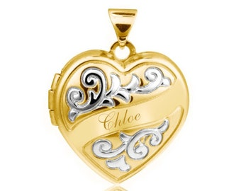 Gold on Sterling Silver 1.7cm 2 Photo Scroll Ribbon Heart Locket - Personalised Name & Message