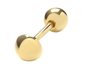 9ct Yellow Gold 4mm Button Barbell Cartilage 6mm Bar Single Stud Screw Back Earring