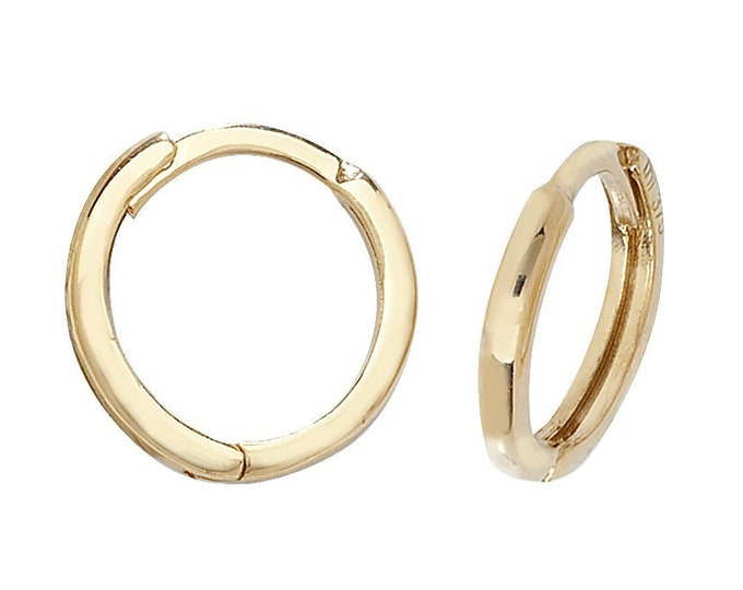 9ct Yellow Gold 8mm Plain Hinged Hoop Earrings - Real 9K Gold