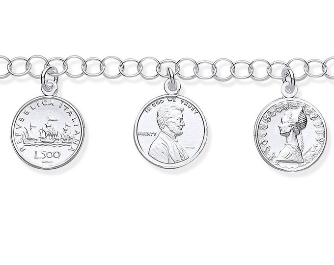 "Ladies 8 Coins of the World 925 Sterling Silver 7"" Charm Bracelet"