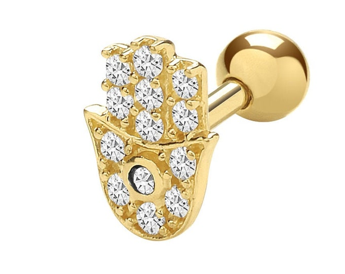 9ct Yellow Gold Cz Hamsa Hand Cartilage 6mm Post Screw Back Single Stud Earring