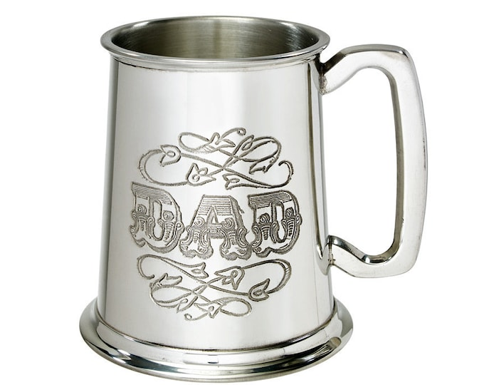 Personalised Dad Engraved 1 Pint Pewter Tankard Customised Message