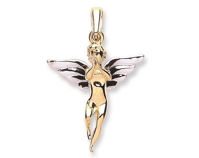 9ct 2 Colour Gold Guardian Angel Charm Pendant Hallmarked