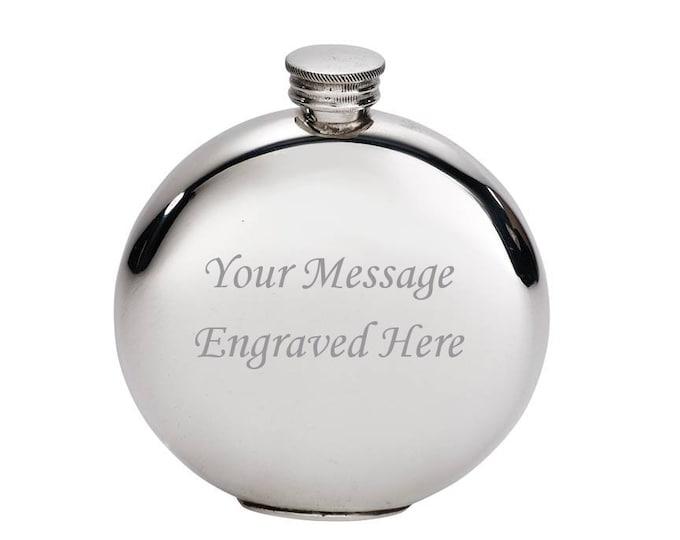 Personalised 4oz Plain Round Pewter Hip Flask Customised Engraved Message