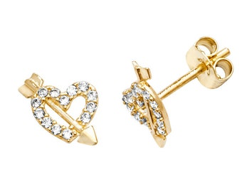 9ct Gold Cupid's Heart & Arrow Stud Earrings Pave Set With Cz Stones 6x5mm