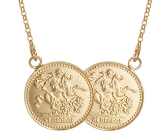 "St George Double Full Sovereign Coin 17"" Necklace Gold Plated 925 Sterling Silver"